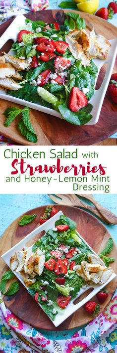 Low Carb Recipes To The Prism Weight Reduction Program Chicken Salad With Strawberries And Honey-Lemon Mint Dressing Is A No-Fuss Meal Perfect For The Summer. This Salad Is Filling And You'll Love The Flavors And Colors Easy Salads, Healthy Salad Recipes, Summer Salads, Real Food Recipes, Chicken Recipes, Big Salads, Side Dish Recipes, Dinner Recipes, Lunch Recipes
