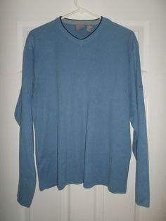 Men's Blue & Black QUIKSILVER V-Neck Long Sleeve Sweater, Size L, Good Shape! #Quiksilver #VNeckPullOverSweaterShirt