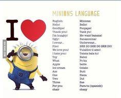 English to Minion Language translation :) The numbers are actually Korean;being half-Korean, I think this makes me part Minion! Banana Language, Minions Language, Plus Tv, Bee Do, My Minion, Minion Talk, Minion Stuff, Minion Jokes, Funny Minion