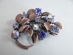 Austrian Blue Rhinestone and Silver Tone Flower and Leaf Brooch - Lovely by SecondWindShop on Etsy