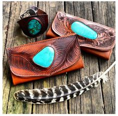 Turquoise & leather tooled clutch