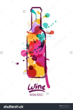 Vector Watercolor Illustration Of Colorful Wine Bottle And Hand ...