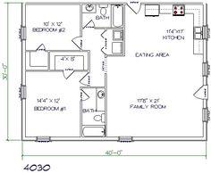 Barndominium floor plan 2 bedroom 2 bathroom 40x30