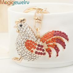 Novelty Crystal Cock Rooster Key chain Ring Fashion Rhinestone Animal Metal Keychain Keyring For Men Bag Charm Pendant Jewelry