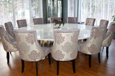 Dining Room, Big Rounded Dining Table With Marble Top Expensive And Elegant Dining Chairs Wood Finishing Floor For Dining Room Large Window Glass With Patterns ~ 12 Person Dining Table: Designs and Benefits