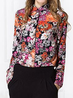 Charming Floral Printed Plus Size Turn-Down Collar Long Sleeve Chiffon Lady's Tops on buytrends.com