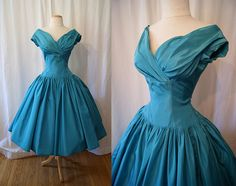 HEY 1950's  where have you been?  Chic 1950's Designer Harry Keiser turquoise taffeta by wearitagain