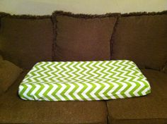 Contoured changing pad cover in Chartreuse & by Jenncreations, $9.25