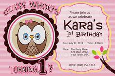 Printable DIY Owl First Birthday Birthday Party Invitation. $10.00, via Etsy.