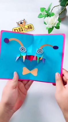 flowers tutorial how to make Diy Origami Cards Mothers Day Crafts For Kids, Fathers Day Crafts, Diy Crafts For Gifts, Paper Crafts For Kids, Easy Crafts For Kids, Preschool Crafts, Fun Crafts, Art For Kids, Simple Crafts