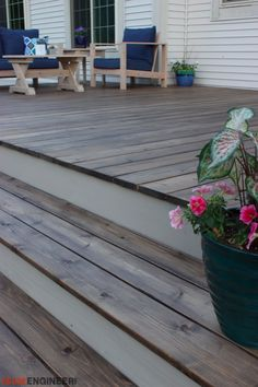 Recently we built this sweet floating deck for my brother and sister-in-law. We really wanted to make this outdoor space pop, so with the help of our friends over at Rust-Oleum, we gave this deck one heck of a finish. Using the Restore Semi-Transparent Stain and Restore One Coat Solid Stain, we created an awesome two-toned finish on this deck. The finish on this deck really transformed the space!