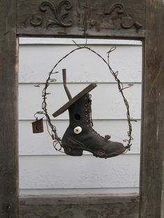Rustic Hillbilly Work Boot Birdhouse With Barbed Wire And Outhouse