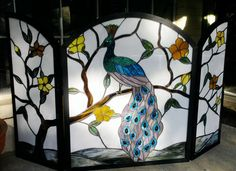 Stained glass peacock fireplace screen