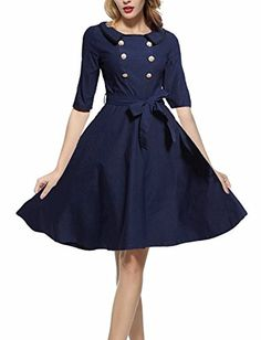 OWIN Womens 34 Sleeve Classy Casual Belted Vintage Retro Evening Party Swing Dress ** Read more at the image link.