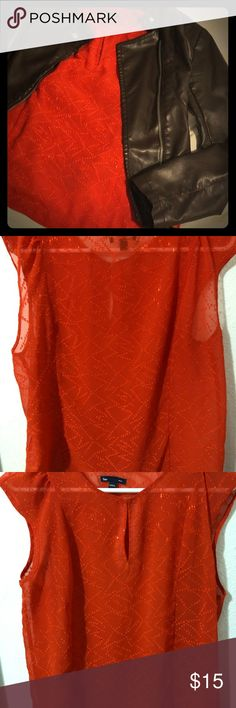 Gap stunning red blouse! Beautifully sheer! This top is a great staple to have, great for going to work or a night out. It's beautifully stitched and has cute sleeves. In great shape. It is sheer so it will need a cami under or bralette. The color is a reddish/orange, so pretty! GAP Tops Blouses