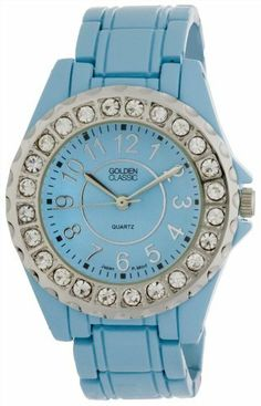 "Golden Classic Women's 2284_blue ""Time's Up"" Rhinestone Accented Blue Metal Watch Golden Classic. $19.80. Round silver bezel with rhinestone accents. Highest standard Japanese parts Quartz Movement. Blue dial with silver hour markers and hands. Water-resistant to 99 feet (30 M). Blue metal band with fold-over clasp and push buttons. Save 45%!"