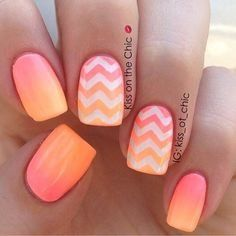Chevron nail designs, chevron nails, cool nail designs, bright coral na Chevron Nail Designs, Chevron Nail Art, Geometric Nail Art, Cute Nail Designs, Awesome Designs, Nail Designs For Summer, Bright Nail Designs, Beach Nail Designs, Pretty Designs