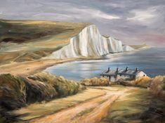 Eril Nisbett - Cuckmere Haven - oil on canvas board Landscape Art, Landscape Paintings, Original Art, Original Paintings, Painter Artist, Oil Painters, East Sussex, Australian Artists, Impressionism