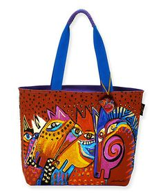 Take a look at this Red & Blue Laughing Mares Tote by Laurel Burch on #zulily today! $22 !!