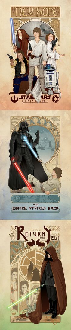 Beautiful Star Wars posters in art nouveau style by Cryssy Cheung.