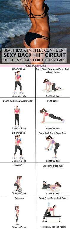 Sexy Back HIIT Circuit! Blast Back Fat, Tone Up, Feel Confident! Results Speak for Themselves… – Transform Fitspo - Helbred Fitness Workout For Women, Fitness Diet, Health Fitness, Fitness Goals, Hiit, Fun Workouts, At Home Workouts, Core Workouts, Fitness Workouts