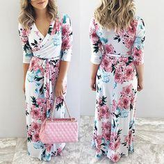 Sleeve Packaging, Maxi Wrap Dress, Vintage Floral, Half Sleeves, Print Patterns, V Neck, Chic, Color, Dresses