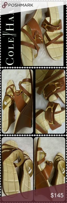 Cole Haan Leather Sandals New Cole Haan Signature Shoes, a Timeless Pair of Cadence Slide Style in Luggage Color, Made in Brazil for Size 6B, Gold Buckle Front Details in Easy Slip On Wedge Heels of about 2 inches, Price Tag Still Intact, New! Shoes