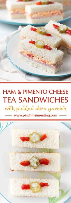 If you're looking for recipes for a Southern tea party, you can't get more Southern than these adorable ham and pimento cheese tea sandwiches topped with pickled okra garnishes! #fingersandwiches #teaparty #southern #teasandwiches