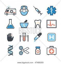 Ambulance icons set colors