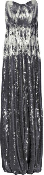 Alexander Mcqueen Printed Silkcrepe Gown in Gray - Lyst