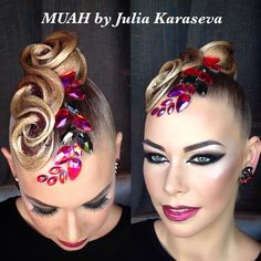 Perfectly styled hair is an important part of the overall look for ballroom dance competitors. Dance Competition Makeup, Latin Hairstyles, Belly Dance Makeup, Ballroom Dance Hair, Hair Art, Hair Designs, Hair Jewelry, Hair Makeup, Hair Beauty