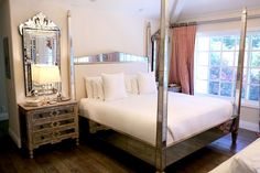 Kyle Richards bedroom - love the mirrored side tables and mirrors Dream Bedroom, Home Bedroom, Master Bedroom, Bedroom Decor, Bedroom Ideas, Kyle Richards House, Furniture Styles, Home Furniture, White Upholstered Headboard