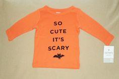 "NWT OSH KOSH HALLOWEEN Girls GraphicTee Sizes 6 to 12 LS /""So Cute it/'s Scary/"""