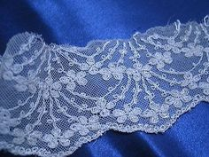 Vintage Tambour Style Embroidered Net Tulle Lace Cotton Floral Antique Dolls | eBay