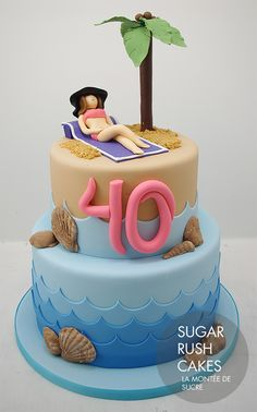 Sun Bathing Beach Cake