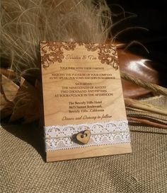 * This listing is for Engraved Wood Wedding Invitation * This wood Wedding Invitations are laser cut and engraved.They are made from Cherry wood. The wedding Invitation looks really amazing and...