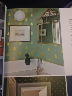 Bumble Bee Wallpaper bird cage mirror from the Farrow Ball book. Small Toilet Room, Cloaks, Bees Knees, Farrow Ball, Humble Abode, Bird Cage, Wall Wallpaper, House Colors, Nom Nom