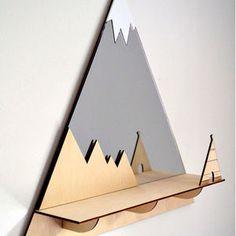 Tee Pee Mountain Peak Decorative Mirror And Shelf - shelves
