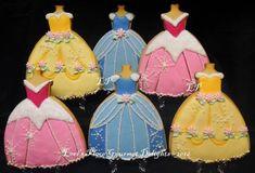 Princess Dress Cookies each by lorisplace on Etsy Disney Princess Cookies, Disney Princess Babies, Disney Cookies, Disney Princess Dresses, Princess Cakes, Disney Princesses, Princess Outfits, Cookie Frosting, Royal Icing Cookies