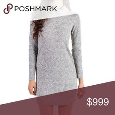 """NWT Gray Cowl Neck Sweater Dress Brand new in package.  Sexy gray ribbed bodycon turtleneck sweater dress.  Not see through, medium weight knit, lots of stretch, super soft. Cotton/Poly/Spandex blend. Approx measurements laying flat:  Medium will fit a size 4/6 chest 16"""""""", length 31.5"""", sleeves 20"""". Large will fit a size 6/8 chest 17"""", length 34"""", sleeves 21.5"""".  Order up if you'd like a bit of an oversized fit.  The color is closer to the last two pictures.  First pic is to show style/fit…"""