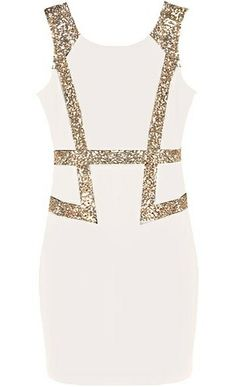 Filthy Rich Dress: Features glittering gold sequin bands in a vest-outline to the front, modest V-design to the rear, centered back zip closure, and a form-fitting silhouette to finish.