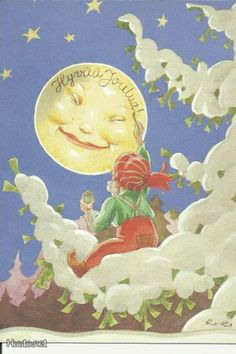 The moon man Christmas Art, Vintage Christmas, Vintage Winter, Vintage Cards, Vintage Postcards, Christmas Illustration, Illustration Art, Baumgarten, Good Night Moon