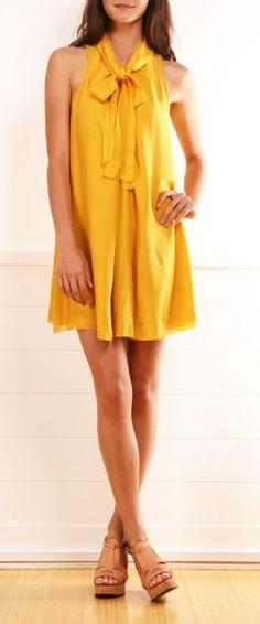 Women's fashion | Collar ribbon on mustard silk dress