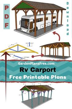 If you want to learn more about RV carport plans you have to take a close look over the free plans in the article. This is a large carport that has a gable roof, designed to shelter a RV, a large truck or even a boat. Plan Carport, Building A Carport, Diy Carport, Pergola Plans, Building Plans, Building Design, Wooden Carports, Rv Carports, Rv Shelter