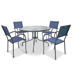 Genevieve Collection 5 Piece Blue Patio Dining Set