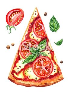 Pizza Margherita with tomatoes and basil, watercolor illustration on. - Pizza Margherita with tomatoes and basil, watercolor illustration on a white background isolated wi - Watercolor Food, Watercolor Illustration, Watercolor Paintings, Watercolor Artists, Abstract Paintings, Landscape Paintings, Pizza Kunst, Logo Dulce, Food Art Painting