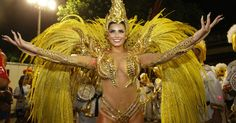 Bianca Leão, 2016 Rainha de bateria da União da Ilha,   shone on the first night of the Special Group of the Rio Carnival Sunday Her costume which cost about US $ 70,000 was made by designer Guilherme Alves. Her first costume choice which called for real fire was vetoed by the fire department