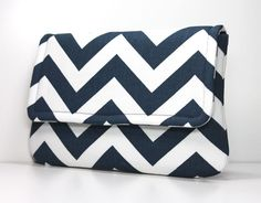 Love this for summer !  Clutch Purse  Navy Blue and White Chevron by OceanPearlBags, $25.00