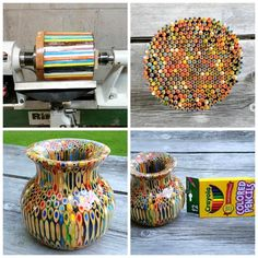 Bowl or vase made out of COLORED PENCILS!!!