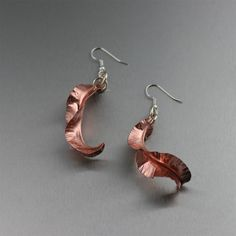 #Fold #Formed Chased #Copper Leaf #earrings $65